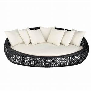 Canapé de jardin 3 places en résine tressée noir Durban