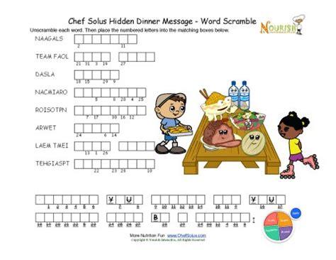 dinner word scramble puzzle activity  children