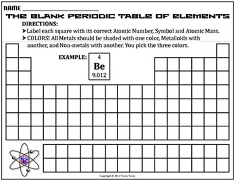 worksheet blank periodic table by travis terry tpt