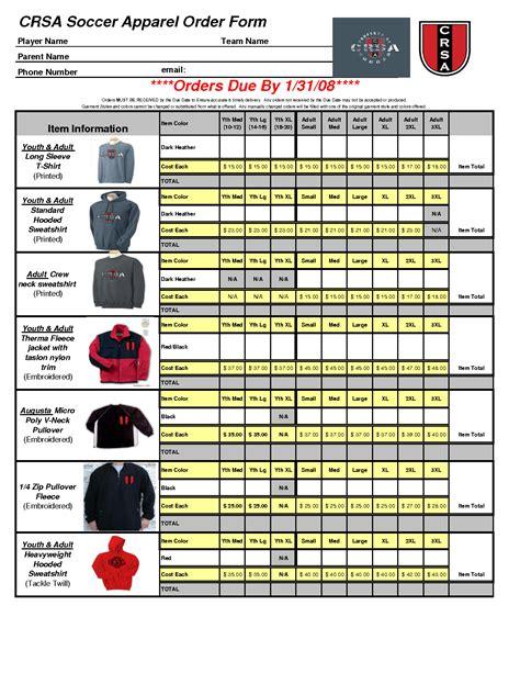 excel template   shirt order form bet