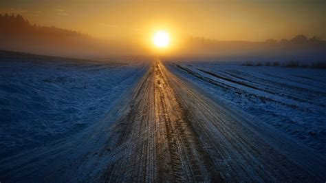 wallpaper sunrise winter road snow hd nature