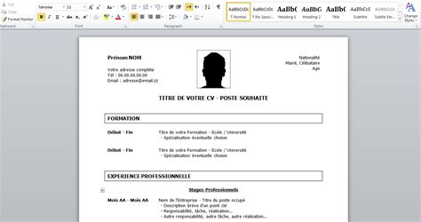 Model De Cv Word 2015 by Docx Modele Cv 2015 Simple Stagepfe