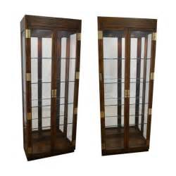 Vintage Henredon China Cabinet by Henredon Campaign Lighted Curio Display Cabinets Chairish