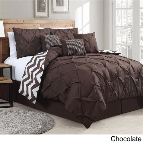 Deals On Bedroom Sets by Ella Pinch Pleat Reversible 7 Comforter Set