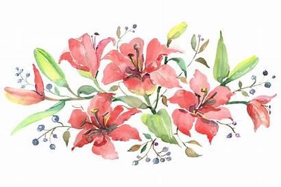 Watercolor Lilies Orange Branch Cart Designer