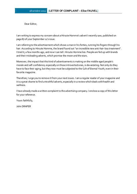 Anglais - Write a letter of complaint