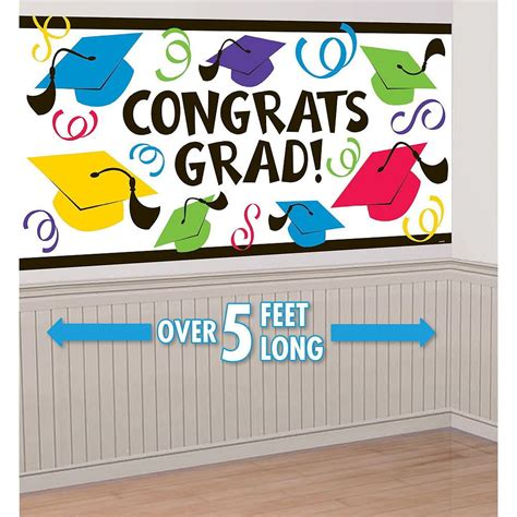 Everyone stays in their cars but they can hoot and holler all they want as they drive by your house. Multicolor Graduation Wall Decorating Kit   Graduation Decorations   Party City (con imágenes ...