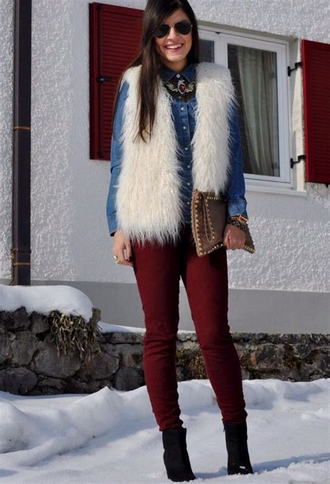 White Fur Vest Love It In 2020 Fur Vest Outfits White