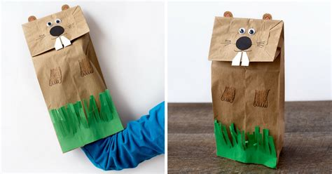 easy  fun groundhog paper bag puppet