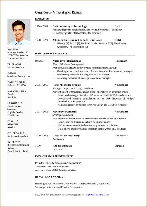 Cv Vorlage by 17 Lebenslauf Englisch Muster Kostenlos Vorlagen123