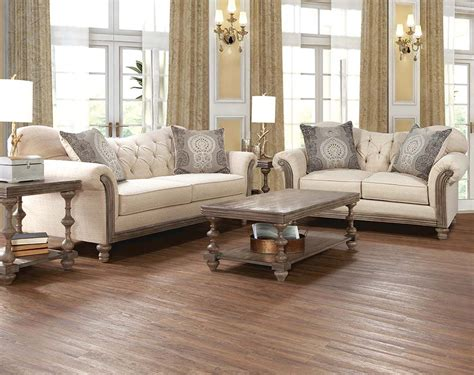 Cream Sofa Set With Tufting And Wood Siam Parchment