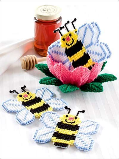 honey bee coaster set plastic canvas pattern