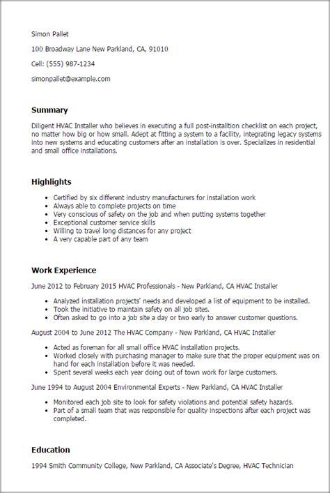 hvac installer job description for resume 1 hvac installer resume templates try them now