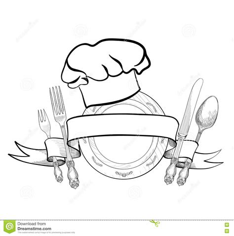 cap cuisine collective chef cook hat with fork spoon and knife sketch label stock illustration illustration 67798803