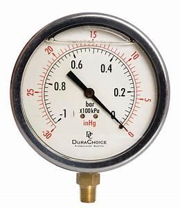 "4"" Liquid Filled Pressure Gauges 1/4"" NPT Lower Mount"