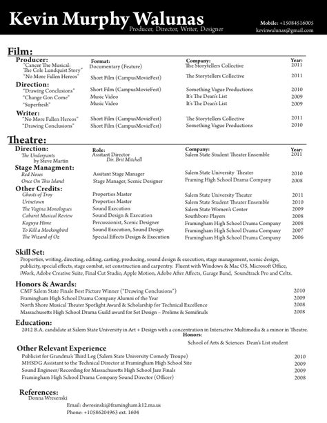 Theatre Manager Resume by Theatre Resume Of Kevin Murphy Walunas