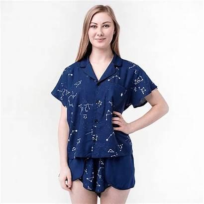 Glow Pajama Shirt Short Dark Constellation Button