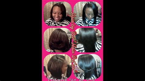 Feathered Sew In Bob Cut Hairstyle