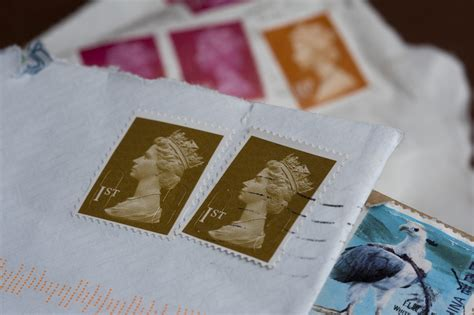stock photo  cancelled british postage stamps