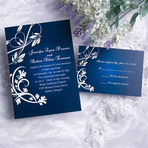 cheap classic blue damask wedding invitations