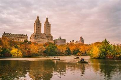 Central Park York Fall Background Autumn Lake