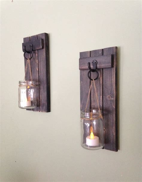 wall sconce candle wooden candle holder rustic wall sconce jar candle