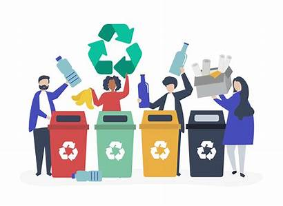 Recycling Sorting Garbage Recycle Vector Waste Illustration