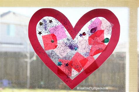 toddler time simple valentines day heart suncatcher