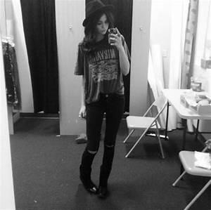 Jeans: black ripped jeans, acacia brinley, t-shirt, skater ...