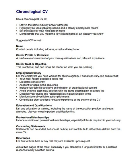 exle of resume for pdf chronological resume 9 sles exles format