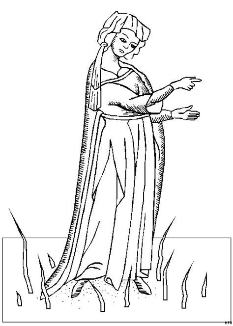 mittelalterliche frau ausmalbild malvorlage phantasie