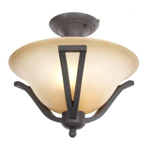 commercial electric 2 light rustic iron semi flush mount light