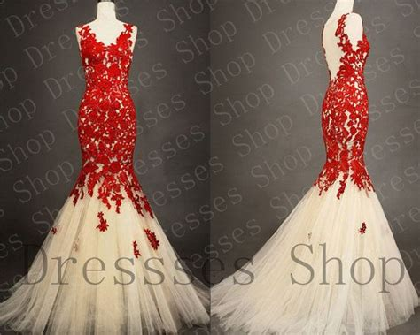 Lace Prom Dresses Red Lace Prom Gown Mermaid Wedding Gown