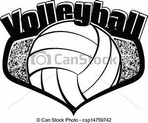 EPS Vector of Volleyball Shield with Text - Black and ...
