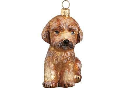 apricot maltipoo glass christmas ornament by joy to the