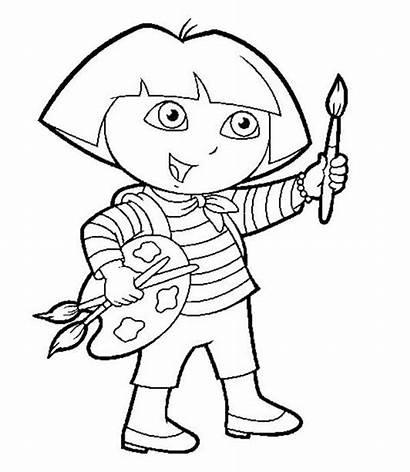 Dora Coloring Paint Explorer Pages Painting Printable