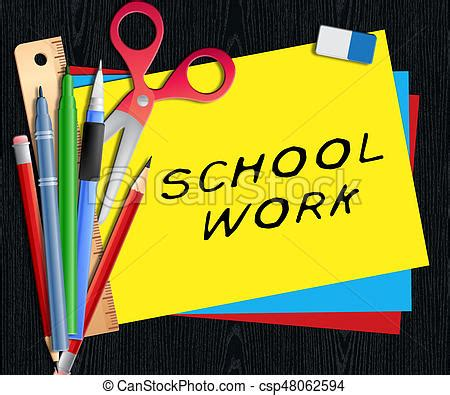 school work clipart school work shows lesson assignment 3d illustration