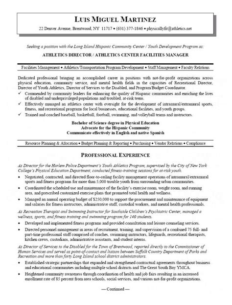 Resume F B Director by Athletic Director Resume Resumes Manager Resume
