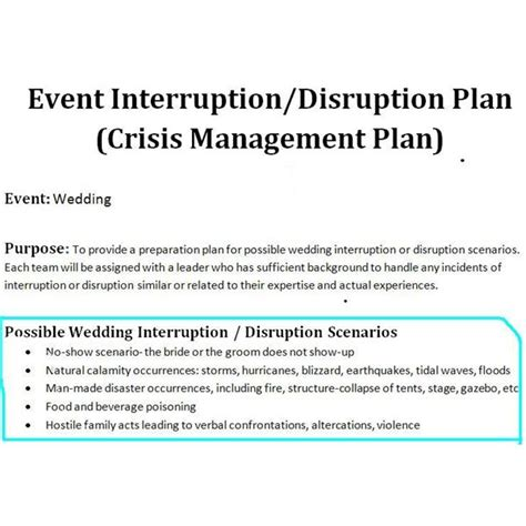 crisis plan template study of a crisis management plan sle for a wedding event