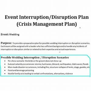 study of a crisis management plan sample for a wedding event With sample crisis management plan template