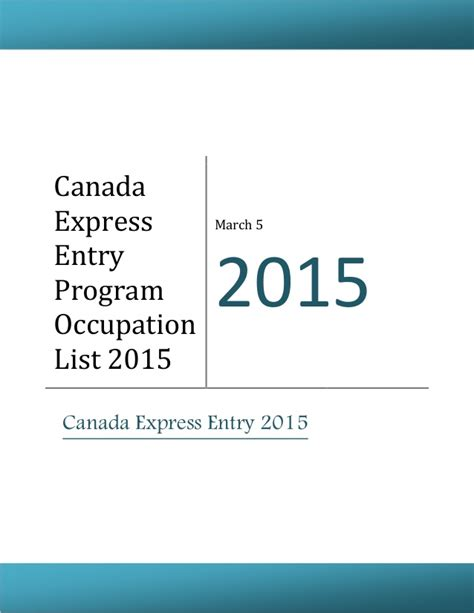 resume for canada express entry canada express entry program occupation list 2015