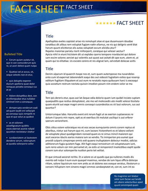 Fact Sheet Template 8 Fact Sheet Template Wordreference Letters Words
