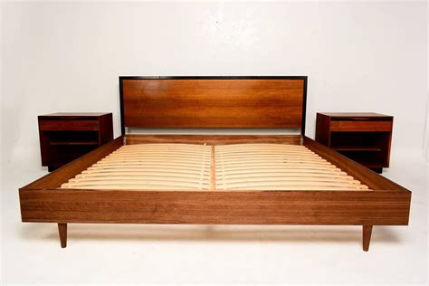 Furniture. Mid Century King Size Bed Frame With Headboard