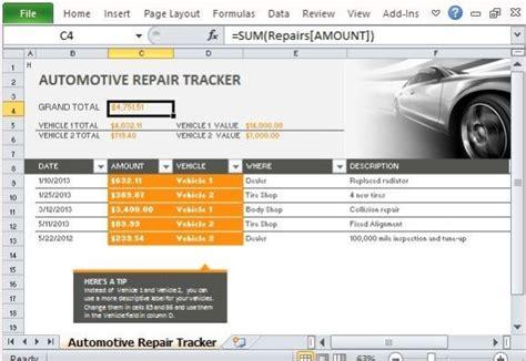 car repair tracker template  excel