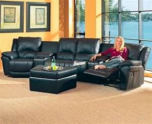 black bonded leather match modern home theater sectional sofa With home theater reclining sectional sofa