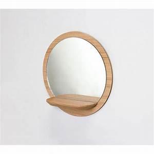 Miroir rond bois avec tablette miroir etagere sunrise for Salle de bain design avec fil métallique décoratif