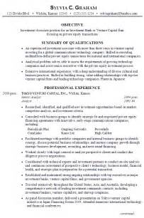 resume templates professional profile statement resume investment associate investment bank venture capital firm