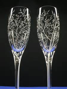 wedding glasses autumn wedding flutes branches and leaves 2 engraved
