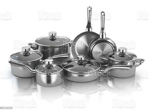 utensils kitchen pans pots steel stainless cooking cookware aluminum 3d metal illustration different collection profiles royalty meat ukraine clean computer