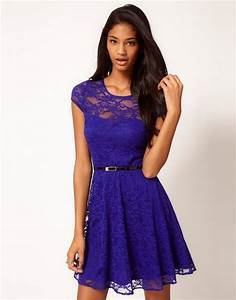 asos collection lace skater dress with belt in blue With robe bleu patineuse